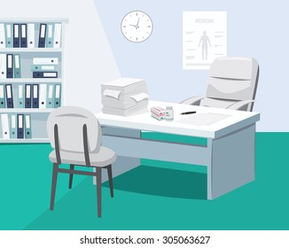Modern interior surgery. Private medical practice. The best medical care. Doctor is on vacation. Vector simple illustration.
