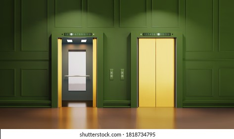 Modern interior with two Golden lift doors. Office hallway with open and closed elevator cabins. Chrome metal hotel building elevator doors. Vector realistic Illustration of lift door, panel metal