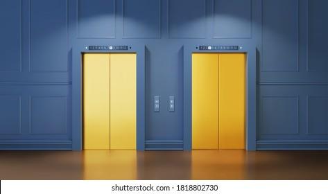 Modern interior with two Golden lift doors. Office hallway with closed elevator cabins. Chrome metal hotel building elevator doors. Vector realistic Illustration of lift door, panel metal