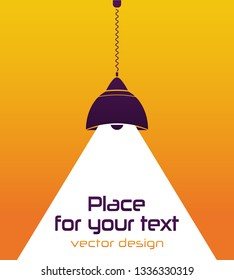 Modern interior. Vector Isolated Lamp on the yellow background.Lamp bulb Icon.Place for your text.