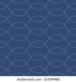 The modern interpretation of sashiko, a traditional Japanese needlework, on a dark blue denim background. Seamless pattern with overlapping stitch waves.
