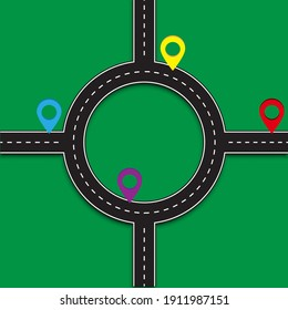 Modern intersection roundabout. Crossroads roundabout green background. Stock image. EPS 10.