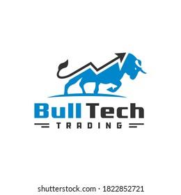 modern investment bull logo design