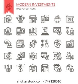Modern Investments , Thin Line and Pixel Perfect Icons