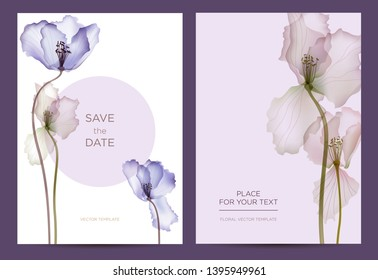 Modern invitation card template in the botanical style. Abstract flowers on a purple background. Background for the invitation, shop, beauty salon, spa. Vector illustration