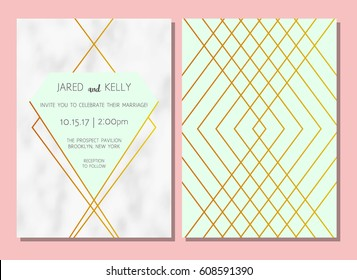Modern invitation to the wedding. Vector geometric background with a pattern of marble with gold lines