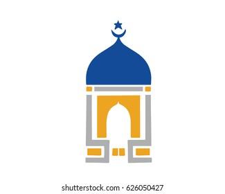 Modern Islamic Mosque Logo - Blue Clean Minimalistic Mosque Dome