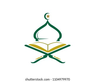 Modern Islamic Mosque And Quran Logo In Isolated White Background