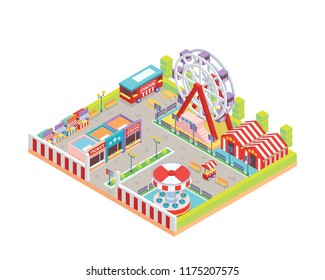 Modern Isolated Circus And Amusement Park Cartoon Illustration