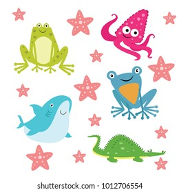Modern isolated frog,squid,shark, toad, and crocodile cartoon illustration for kids. Suitable for drawing book,poster,apps, and children related illustration.