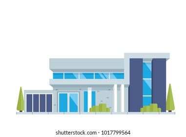 Modern Isolated Luxury Contemporary House Building Illustration