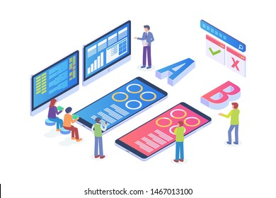 Modern Isometric AB Testing Method Illustration, Web Banners, Suitable for Diagrams, Infographics, Book Illustration, Game Asset, And Other Graphic Related Assets