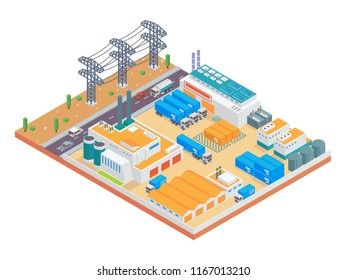 Modern Isometric Big Industrial Factory and Logistic Warehouse Complex Illustration, Suitable for Diagrams, Infographics, Illustration, And Other Graphic Related Assets