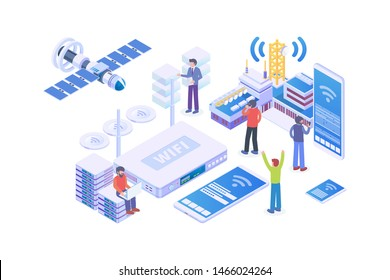 Modern Isometric Broadband Internet Provider Illustration, Web Banners, Suitable for Diagrams, Infographics, Book Illustration, Game Asset, And Other Graphic Related Assets