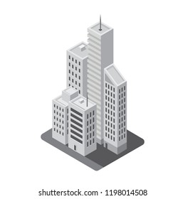 Modern isometric building 3D flat icon, Skyscrapers, apartment, office, isolated on white background