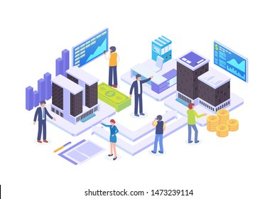 Modern Isometric Business To Business Illustration, Web Banners, Suitable for Diagrams, Infographics, Book Illustration, Game Asset, And Other Graphic Related Assets