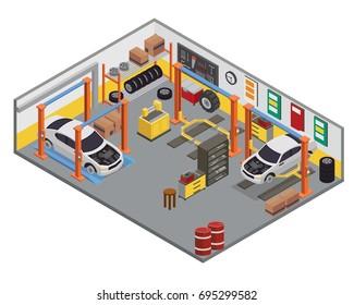 Modern Isometric Car Workshop Garage Interior Design