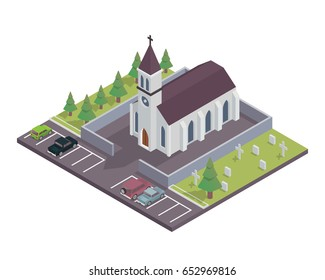 Modern Isometric Church Building