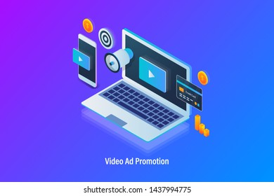 Modern isometric concept of Video advertising and promotion, Video displaying on laptop and mobile, Video monetization - vector banner