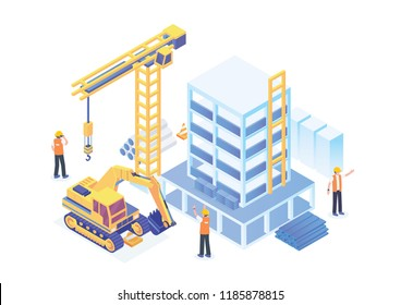 Modern Isometric Construction Site Development Progress Illustration, Suitable for Diagrams, Infographics, Book Illustration, Game Asset, And Other Graphic Related Assets