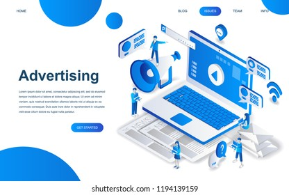 Modern isometric design concept of Advertising and Promotion for website and mobile website development. Isometric landing page template. Social media campaign, marketing. Vector illustration.