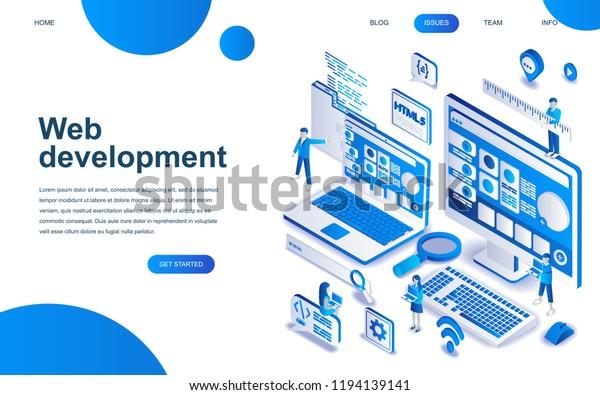 Modern Isometric Design Concept Web Development Stock Vector Royalty Free 1194139141