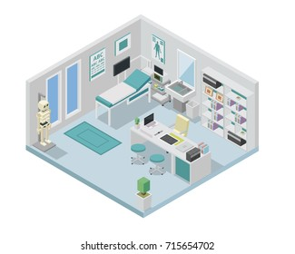 Modern Isometric Doctor Clinic Interior Design