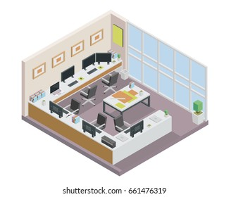 Modern Isometric Employee Office Space Interior Design