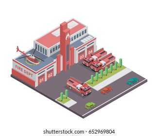 Modern Isometric Fire Department Building