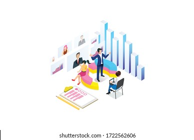 Modern isometric graph analysis and online data processing. online based vector illustration Suitable for Diagrams, Infographics, Game Asset, And Other Graphic Related Assets