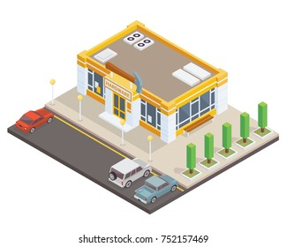 Modern Isometric Hardware Tools Store Commercial Building Illustration