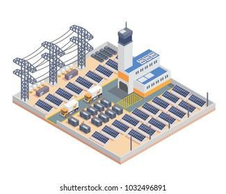 Modern Isometric Industrial Electricity Solar Plant Facility Building, Suitable for Diagrams, Infographics, Illustration, And Other Graphic Related Assets