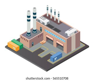 Modern Isometric Industrial Factory and Warehouse Building, Suitable for Diagrams, Infographics, Illustration, And Other Graphic Related Assets