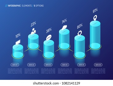 Modern isometric infographic design, chart, template, concept with 3d cylindrical elements on gradient background. 6 options, steps, processes. Global swatches.