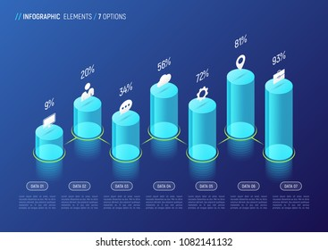 Modern isometric infographic design, chart, template, concept with 3d cylindrical elements on gradient background. 7 options, steps, processes. Global swatches.