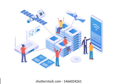 Modern Isometric Network Server Illustration, Web Banners, Suitable for Diagrams, Infographics, Book Illustration, Game Asset, And Other Graphic Related Assets