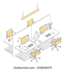 Modern isometric office cubicles on white. Vector illustration in flat design, isolated. Outlined, linear style.