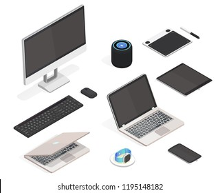 Modern isometric set. Thin laptop, all in one computer, graphic tablet, smart watch, wireless charger, speaker, keyboard with screen and mouse, smartphone isolated icon on white background.