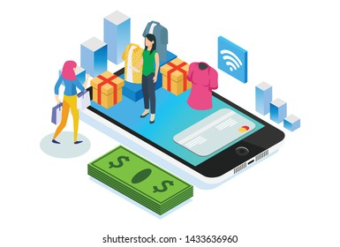 Modern Isometric Smart Cashless Online Grocery Illustration, Suitable for Diagrams, Infographics, Book Illustration, Game Asset, And Other Graphic Related Assets