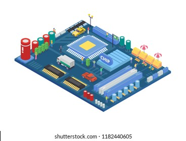Modern Isometric Smart City Circuit Board Concept Illustration in Isolated White Background