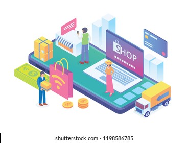 Modern Isometric Smart E-Commerce Illustration, Suitable for Diagrams, Infographics, Book Illustration, Game Asset, And Other Graphic Related Assets