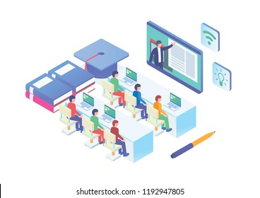 Modern Isometric Smart E-Learning Technology Illustration, Suitable for Diagrams, Infographics, Book Illustration, Game Asset, And Other Graphic Related Assets