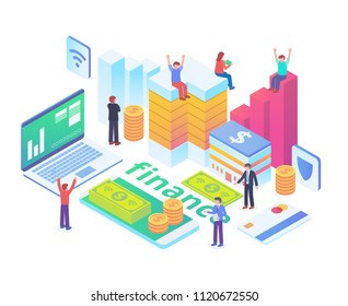 Modern Isometric Smart Financial Technology Illustration in White Isolated Background With People and Digital Related Asset