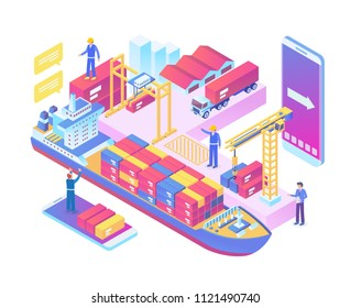 Modern Isometric Smart Global Sea Port Logistic System Technology Illustration in White Isolated Background With People and Digital Related Asset
