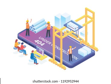Modern Isometric Smart Mobile App Development Under Constuction Illustration, Suitable for Diagrams, Infographics, Book Illustration, Game Asset, And Other Graphic Related Assets