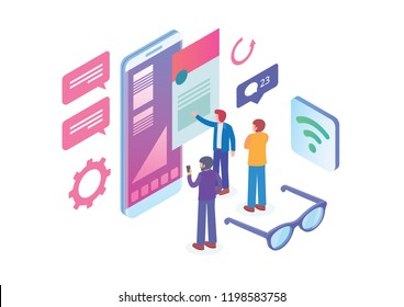 Modern Isometric Smart Mobile Content Provider Illustration, Suitable for Diagrams, Infographics, Book Illustration, Game Asset, And Other Graphic Related Assets