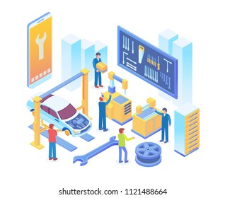 Modern Isometric Smart Online Car Workshop System Technology Illustration in White Isolated Background With People and Digital Related Asset
