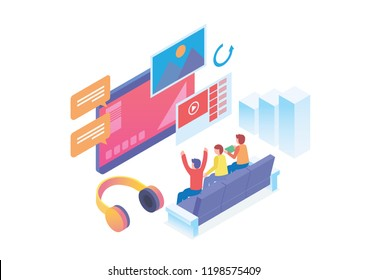 Modern Isometric Smart Online Home Entertainment System Illustration, Suitable for Diagrams, Infographics, Book Illustration, Game Asset, And Other Graphic Related Assets