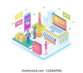 Modern Isometric Smart Online Shopping Technology Illustration in White Isolated Background With People and Digital Related Asset