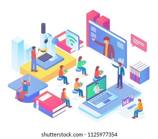 Modern Isometric Smart Online Webinar Training Technology Illustration in White Isolated Background With People and Digital Related Asset